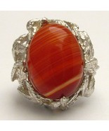New Red/White Sardonyx Cab 18x13mm Solid Sterli... - $112.50