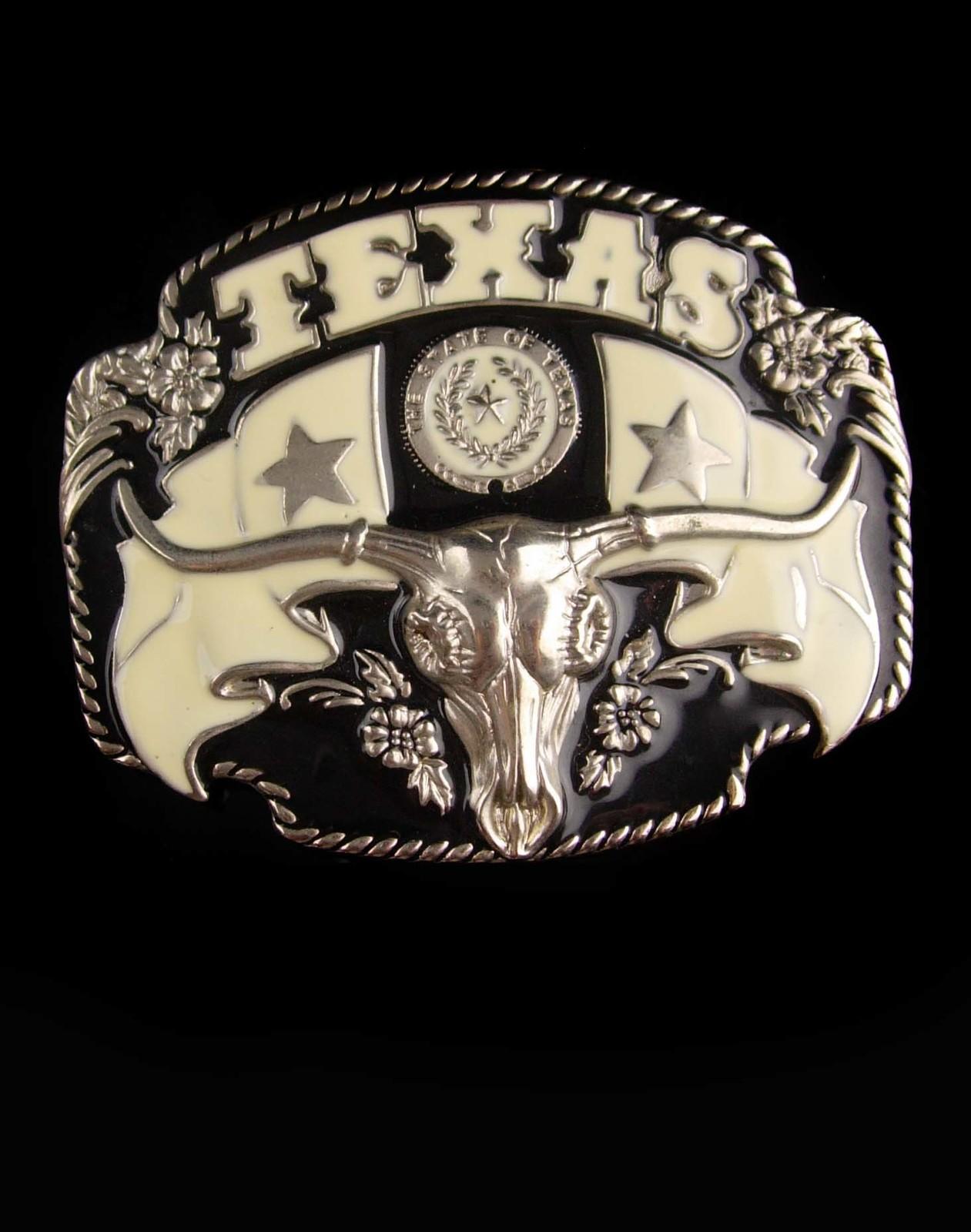HUGE Texas Buckle - Men's Vintage rodeo steer - Long Horn cattle - Country Weste