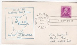 FIRST TRIP H.P.O. TOLEDO OHIO & COLUMBUS OHIO SEPT 20 1952 TRIP 1 - $1.78
