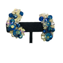 Hobe Blue Aurora Borealis Ab Crystal Clip On Earrings Swirl Design J6186 - $28.49