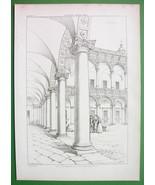 ARCHITECTURE PRINT 1850s : Italy Milan Curtyard of Ospeda le Maggiore - $25.32