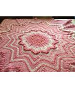 Crocheted puffy round ripple star shaped baby afghan - $50.00
