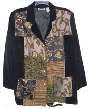 MAGGIE BARNES WOMEN'S JACKET PATCHWORK BROCADE FABRIC PLUS SIZE 2X - $29.99