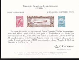 GRAF ZEPPELIN EXFILBRA 72 SOUVENIR CARD #SC22 USPS - $4.44