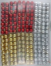 "CHRISTMAS SMALL 1"" BALL ORNAMENTS METALLIC GOLD SILVER RED  16/Pk SELECT... - $2.99"