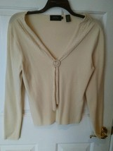 DANA BUCHMAN Ivory Casual Fitted Collared V Neck Ribbed Knit Top Size L ... - $19.75