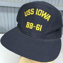 US Navy USS Iowa BB-61 VTG Baseball Cap Hat Snapback Made in USA - $18.35