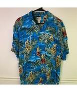 Cherokee Waikiki Wear Mens Hawaiian Shirt Blue Short Sleeve Rayon Point ... - £10.92 GBP