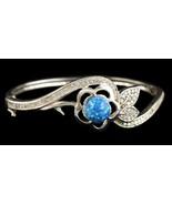 Alducchi Blue Fire Lab Opal -CZ S925 Sterling Silver FloralL Bangle Brac... - $65.95