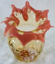 Antique STEVENS & WILLIAMS Art Glass Vase With Applied Flower Leaves Vic... - $139.99
