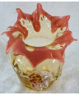 Antique STEVENS & WILLIAMS Art Glass Vase With Applied Flower Leaves Vic... - $139.99