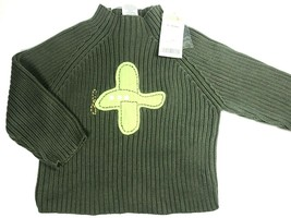 Gymboree Sweater Boys 12-18 Months Pullover Airplane Mock Neck Green Knit Ribbed - $11.35