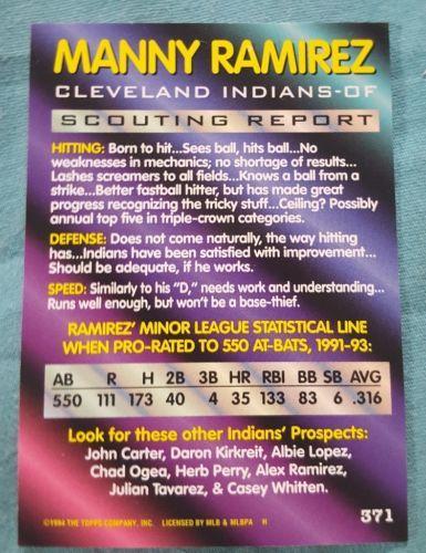 1994 BOWMAN BASEBALL #371 MANNY RAMIREZ FOIL