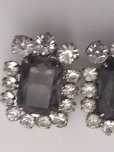 Vintage 50s rhinestone earrrings clip silver smokey gray large rectangle... - $23.38