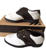 Mizuno Wave Professional Dark Brown and White Saddle Golf Shoes Sz 9.5 W... - $149.99