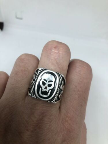 Primary image for Vintage Mens Skull Ring Southwestern Black Inlay White Bronze Size 11.5