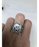 Vintage Mens Skull Ring Southwestern Black Inlay White Bronze Size 11.5 - $34.65