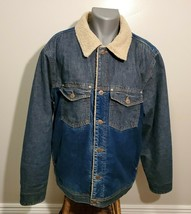 Oakley Blue Long-Sleeve Button-Up Sherpa Lined Denim Jacket For Men, Size XL - $44.88