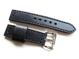 22MM Handmade Genuine Italian Calf Black Strap PRE-V Polished Buckle Fit PANERAI - $44.55