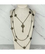 "Cookie Lee Bronze Tone Multi Strand Rhinestone Key Chain Link Necklace 22"" - $12.59"