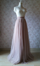 2020 Wedding Tulle Skirt High Waisted Bridesmaid Long Tulle Skirt, Light Taupe   image 3