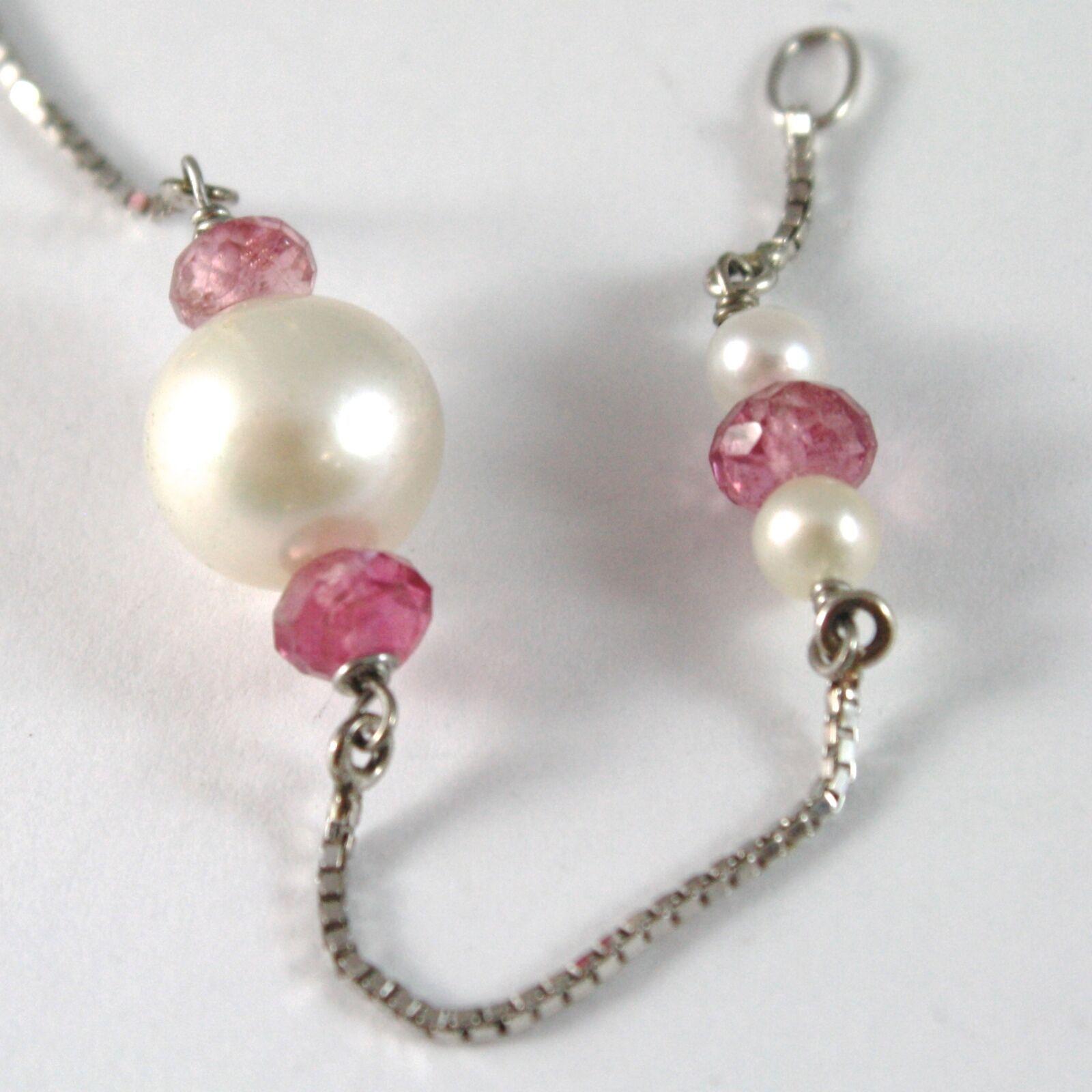 Bracelet or Blanc 750 18k, Perles Blanches 9 mm,Faceté Rouges,Chaîne Vénitien