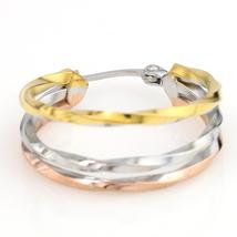 Unique Tri-Color Silver, Gold & Rose Tone Hoop Earrings- United Elegance image 4
