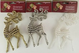 Christmas Ornaments Glitter Reindeer w Loops 1 Ct/Pk  SELECT: Gold, Silv... - $2.99