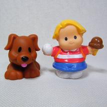 Fisher Price Little People EDDIE Baseball & Ice Cream & Playful Brown PUPPY - $6.50