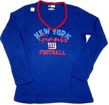 Ladies Medium New York Giants Shirt Junior Women's Royal Long Sleeve Tee T-Shirt