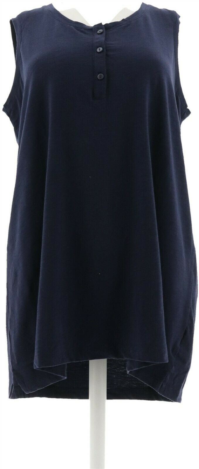 Primary image for Denim & Co Essentials Slvless Textured Knit Henley Top Navy L NEW A305036