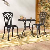 Black Metal Bistro Set 3 Piece Small Oudoor Patio Round Coffee Table W/ ... - $239.59