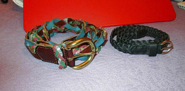 2X Lot LEATHER Size M BELTS Skinny BRAIDED Brown BLACK Boho BUCKLES - $14.28