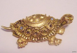 Vintage Goldtone FLORENZA BROOCH Turtle with Rhinestones  - $29.95