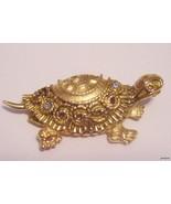 Vintage Goldtone FLORENZA BROOCH Turtle with Rhinestones  - $29.95