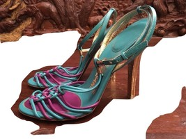 Stunning Salvatore Ferragamo Turquoise/Purple Braided  Leather Shoes New... - $280.26 CAD