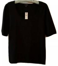Talbots Jet Black knit blouse size Medium NWT scalloped collar - $25.70