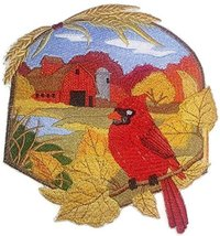 BeyondVision Custom And Unique Country Autumn Cardinal And Barn Embroide... - €23,86 EUR