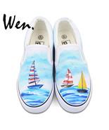 Nted shoes slip on flats original design sailing boat navigation ocean canvas sneakers thumbtall