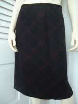 Ann Taylor Loft Skirt 6 Straight Wool Blend Black Red Square Pattern Lined   - $39.58