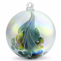 "4"" European Art Glass Crested Plume Blue & Pearlized White Witch Ball Kugel - $24.20"