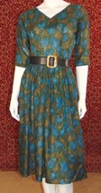 Vintage 60s blue floral fit and flare knee dress S (T48-05G8G) - $74.23