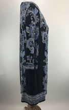 Sandra Darren Womens Dress 14 Blue Floral Print Shift Keyhole Scoop Neck A3-05P image 5