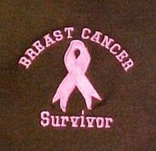 Survivor Sweatshirt 2XL Breast Cancer Pink Ribbon Brown Crew Neck Embroi... - $30.35