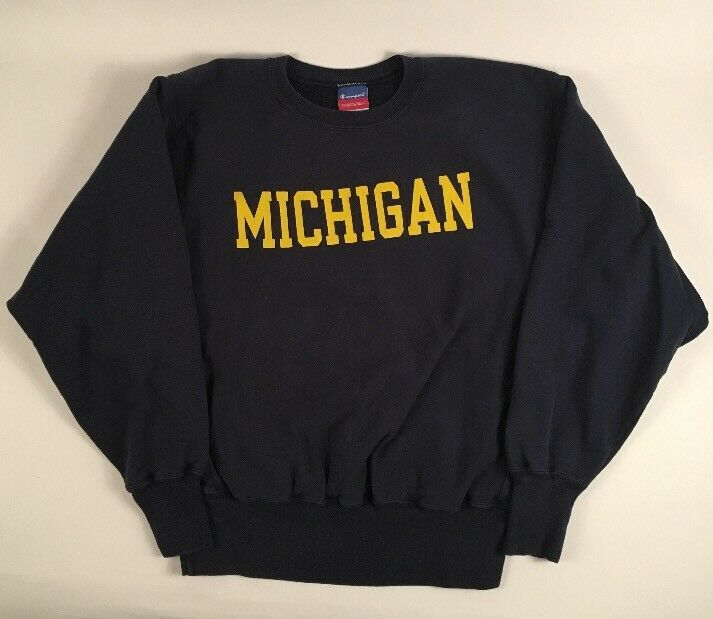 VINTAGE 90S MICHIGAN WOLVERINES CHAMPION REVERSE WEAVE MENS BLUE SWEATSHIRT MED