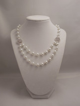 Gorgeous and Elegant, 8mm White Glass Pearl Chain Necklace with Sparkle ... - £38.06 GBP