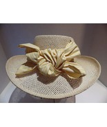 FIRETHORN Summer Rules Straw Hat Yellow Striped Band and Bow One Size - $24.70