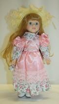 "14"" Porcelain Doll Strawberry Blond Hair Blue Eyes Pink Dress Straw Bonnet - $19.79"