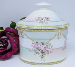 Shabby Pastels Chic Rose Porcelain Vanity Covered Box Royal Coat of Arms - $34.64