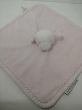 Blankets & Beyond Pink sleeping lamb Baby Security Blanket gray zigzag s... - $11.87